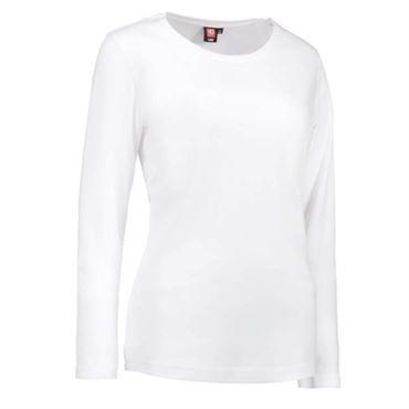 ID interlock t shirt med lange ærmer dame 0509 hvid
