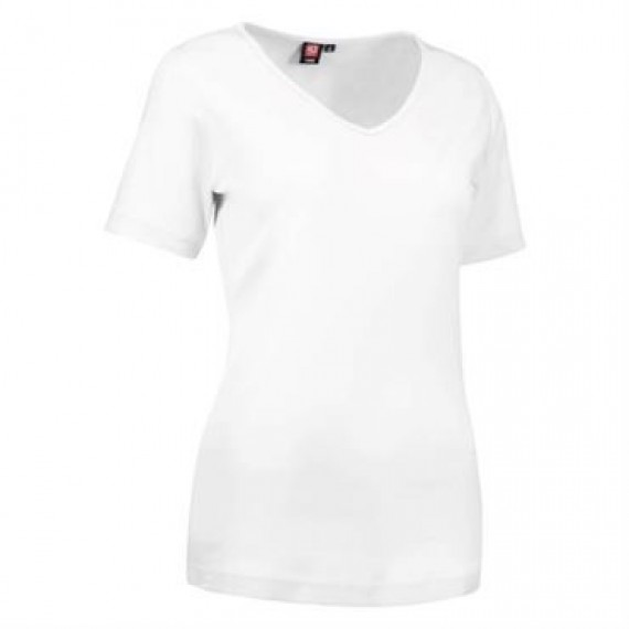 ID interlock t shirt med V hals dame 0506 hvid