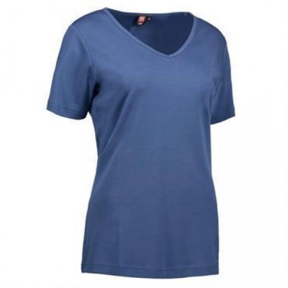 ID interlock t shirt med V hals dame 0506 indigo