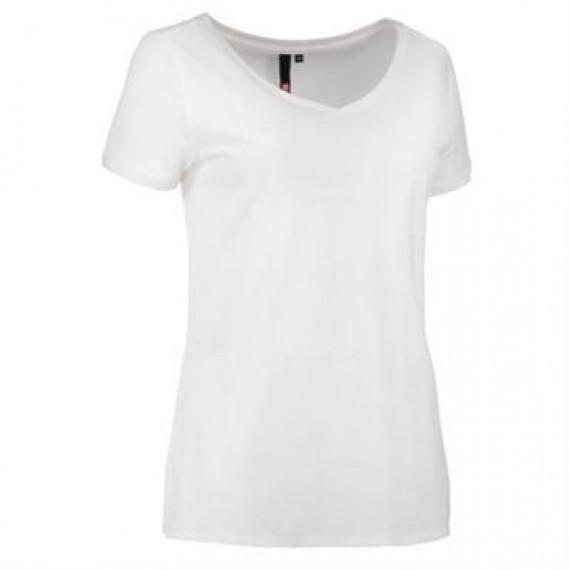 ID Core t shirt med V hals dame 0543 hvid