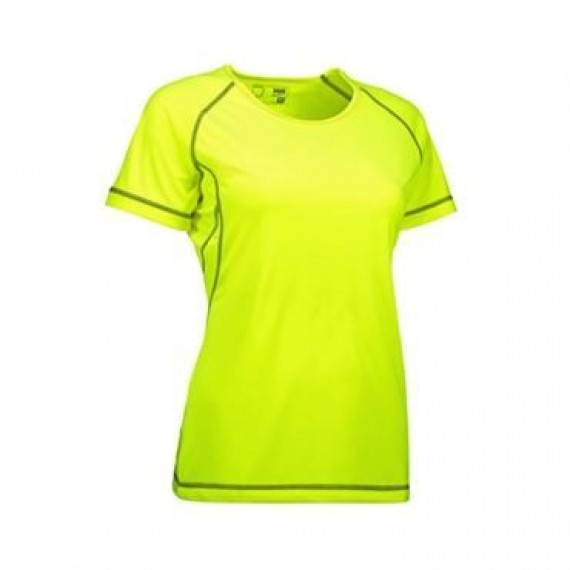 ID Game active t shirt flatlock dame 0581 fluorescerende gul
