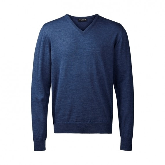 Clipper Pullover - v-hals - Denim Blå