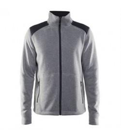 Craft noble zip jacket heavy knit fleece 1904587 2950 Grey melange Men-20