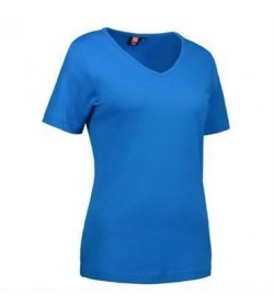 ID interlock t-shirt med V-hals dame 0506 turkis-20