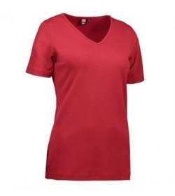 ID interlock t-shirt med V-hals dame 0506 rød-20