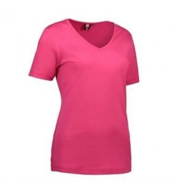 ID interlock t-shirt med V-hals dame 0506 pink-20