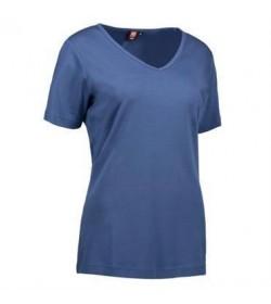 ID interlock t-shirt med V-hals dame 0506 indigo-20