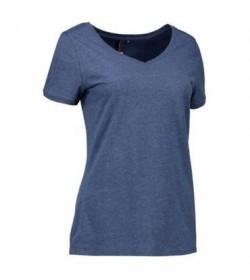 ID Core t-shirt med V-hals dame 0543 blå melange-20