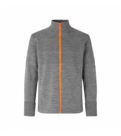 Mads Nørgaard cardigan Klemens zip 120361 grey melange/orange-20