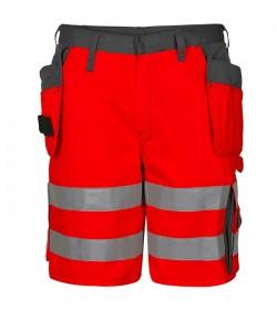 FE-Engel EN 20471 Shorts M/Hængelomme Rød/Grå-20