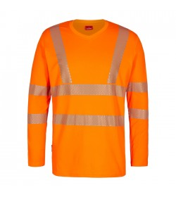 FE-Engel Safety Langæ. T-Shirt M/V-Hals Orange-20