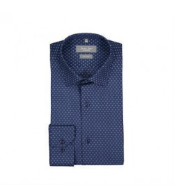 Seven Seas skjorte slim fit ss343 blue print-20