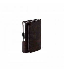 C-secure single wallet with coin pocket Brown / Silver cardholder-20