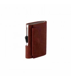 C-secure single wallet with coin pocket Cognac / Silver cardholder-20