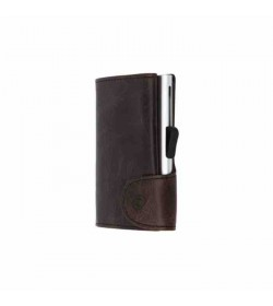 C-secure single wallet Vintage Dark Brown / Silver cardholder-20