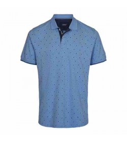 Signal polo Berry mini print pique Island blue-20