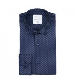 Seven Seas skjorte modern fit ss342 blue print-20