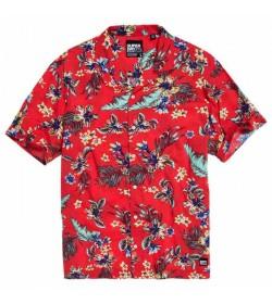 Superdry kortærmet skjorte m4010004a Tropical red-20