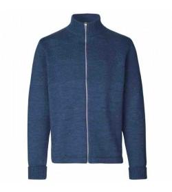 Mads Nørgaard cardigan Klemens zip 120360 blue melange-20