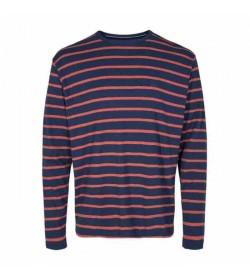 Signal langærmet t-shirt Bastian Navel stripe Duke blue melange-20