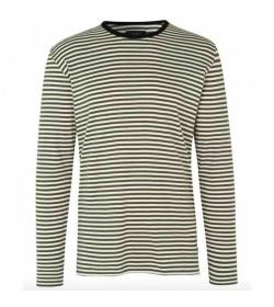 Mads Nørgaard langærmet t-shirt Tobias Marshmallow/Forest Night/Black-20